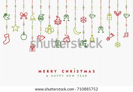 Merry Christmas and new year greeting card design, holiday line art icon ornament decoration illustration. EPS10 vector.