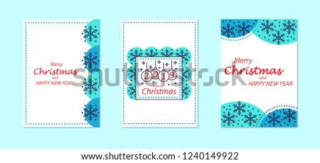 merry christmas and new year greeting card vector templates set happy winter holidays handwritten lettering