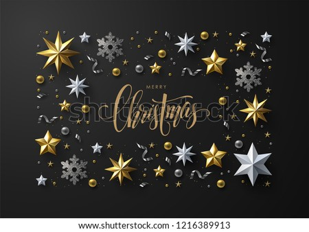 Stock Photo Merry Christmas and New Year greeting card with elegant frame composition made of realistic gold and white stars, silver snowflakes and glitter.