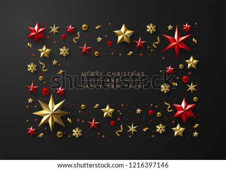 Merry Christmas and New Year greeting card with elegant frame made of realistic gold and red foil stars, snowflakes and glitter.