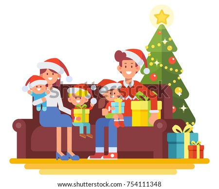 Merry Christmas and New Year. Happy family together. Mom, dad and children in santa hat sitting on the couch at home. Cartoon style, Flat Vector illustration.