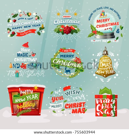 Merry christmas and new year isolated badges for celebration postcard. Fir tree with winter decorations and advent and christmas eve wreath, snow man and globe, gift. Holiday and present theme
