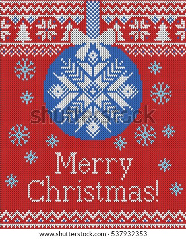 Merry Christmas and New Year seamless knitted pattern with Christmas balls, snowflakes and fir. Scandinavian style. Winter Holiday Sweater Design. Vector Illustration