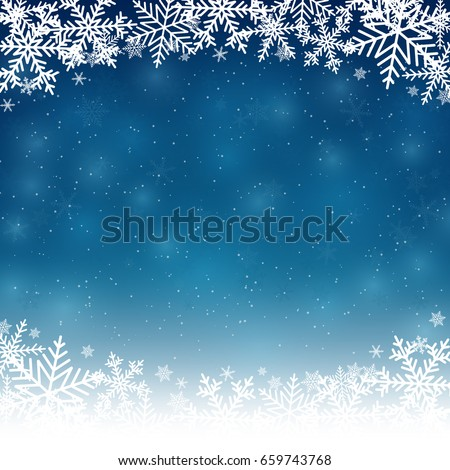 Merry Christmas and New year snowflakes background.