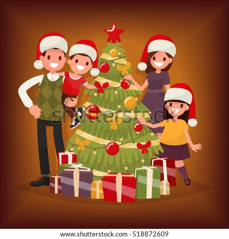 Merry Christmas and New Year. The family decorates the Christmas tree. Vector illustration in a flat style