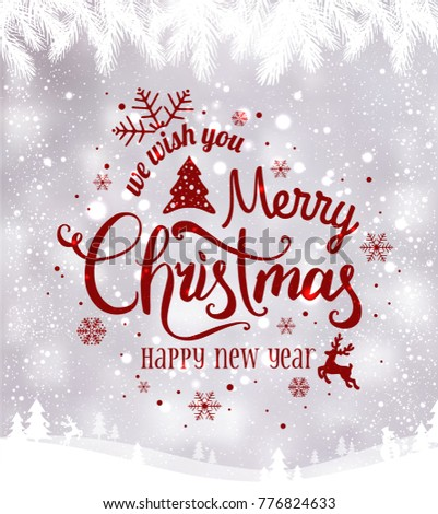 Merry Christmas and New Year typographical on background with winter landscape with snowflakes, light, stars. Xmas card. Vector Illustration #776824633
