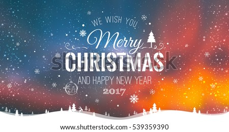 stock-vector-merry-christmas-and-new-year-typographical-on-galaxy-background-with-winter-landscape-with