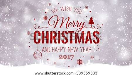 Merry Christmas and New Year typographical on light background with winter landscape with snowflakes, light, stars. Vector Illustration. Xmas card