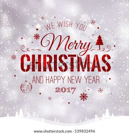 Merry Christmas and New Year typographical on light background with winter landscape with snowflakes, light, stars. Vector Illustration. Xmas card #539832496