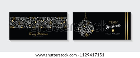 Merry Christmas and New Year web banner collection, holiday illustrations with gold  outline icon decoration set. EPS10 vector.