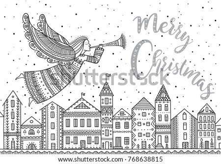 Merry Christmas Angel With Horn And Snow In Night Sky Stars Flying Above Houses