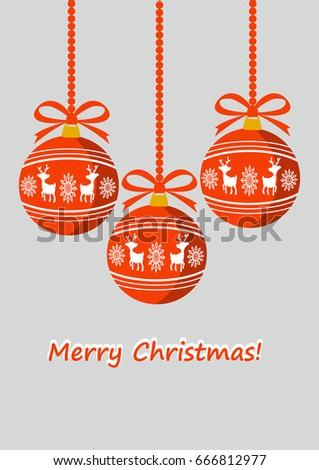 Merry Christmas background, Christmas balls, vector illustration, greeting card