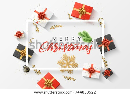 Merry Christmas background. Christmas composition. gift, confetti, golden snowflake and Xmas balls.