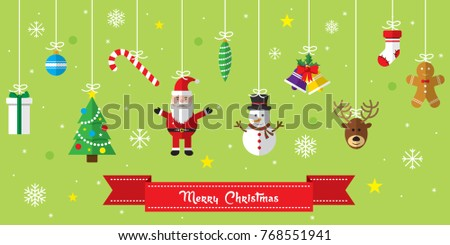 Merry Christmas background. Set of Christmas icons flat in vector illustration. Icon of bell, stocking, christmas tree, reindeer, present, Santa Claus, snowman. Template for internet and business.