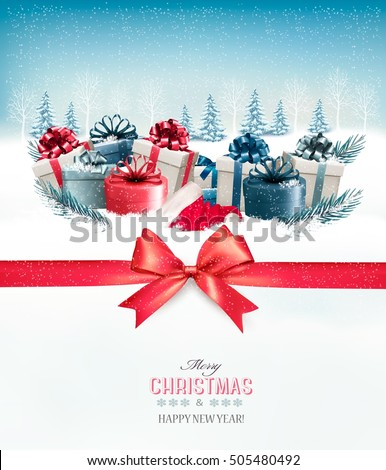 Merry Christmas Background with a red ribbon and gift boxes.Vector