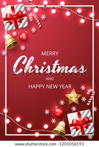 Merry Christmas background with christmas element. Red Background. Vector illustration - Shutterstock ID 1201056193