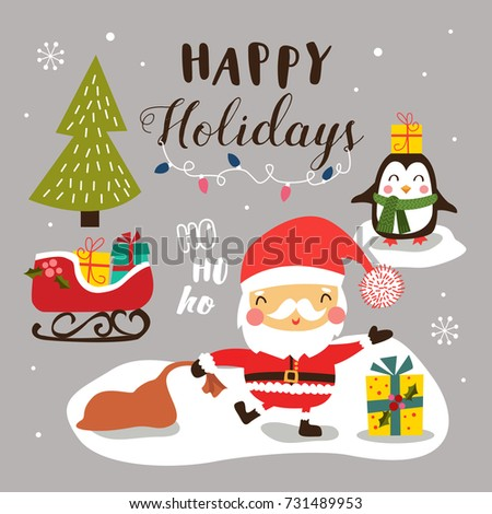 Merry Christmas background with cute cartoon santa claus.