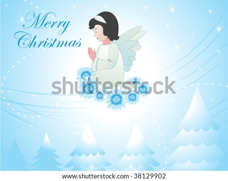 merry christmas background with little angel praying to god