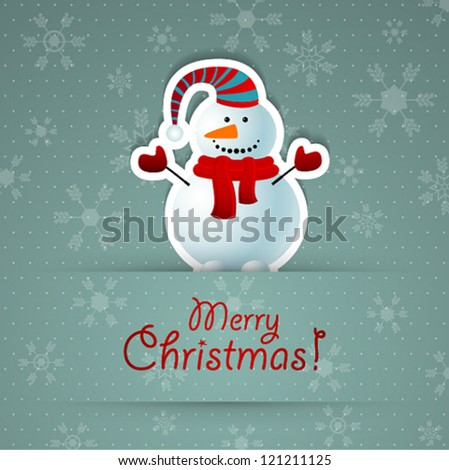 Merry christmas background with snowman. Vector illustration.