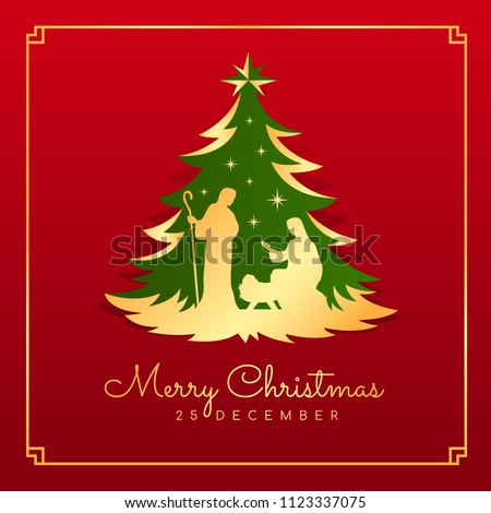 Merry Christmas banner card with Nightly christmas scenery mary and joseph in a manger with baby Jesus in green gold christmas tree on red background vector design