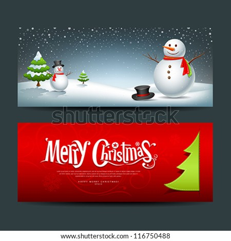 Merry Christmas, banner design background set, vector illustration