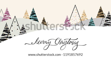 Merry Christmas banner with abstract Christmas trees and winter landscape. Vector background.