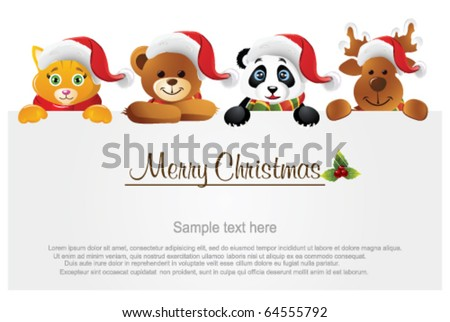 Merry Christmas banner with animals