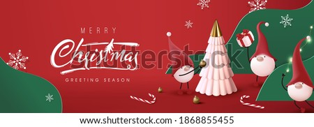 Merry Christmas banner with cute gnome and festive decoration for christmas