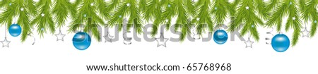 Merry Christmas Banner With New Year's Spheres, Stars, Streamer, Isolated On White Background, Vector Illustration