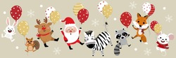 Merry Christmas banner with Santa Claus, deer, squirrel, rabbit, zebra  and mouse hold balloons. Holiday cartoon vector. Cute wildlife animal character.
