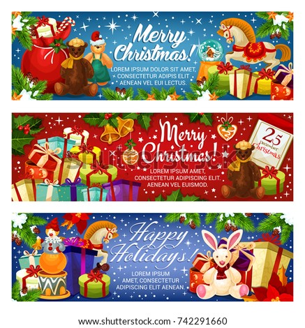 Merry Christmas banners design for seasonal greetings and holiday wishes. Vector Santa gifts bag and New Year decoration garland of golden bell and star on Christmas tree for 25 December calendar