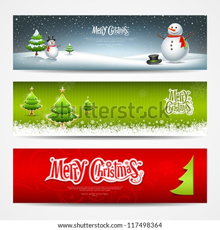 Merry Christmas banners set design background, vector illustration