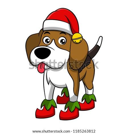 stock-vector-merry-christmas-beagle-cartoon-dog-vector-illustration-of-purebred-christmas-beagle-dog