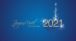 Merry Christmas beautiful calligraphy New Year 2021 Frech language firework gold white blue greeting card