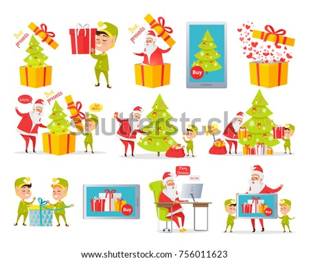 merry christmas best presents collection of cartoon xmas pictures with santa claus and gnome packing