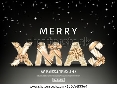 Merry Christmas black background with golden decorative letters with  gold gift bow, ribbon. Xmas text. Winter holiday decoration. Vector greeting card template.