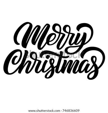 Merry Christmas Black Ink Brush Hand Lettering Isolated On White