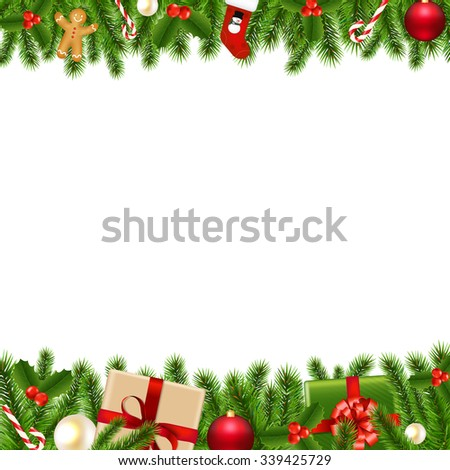 Merry Christmas Borders With Gradient Mesh, Vector Illustration #339425729