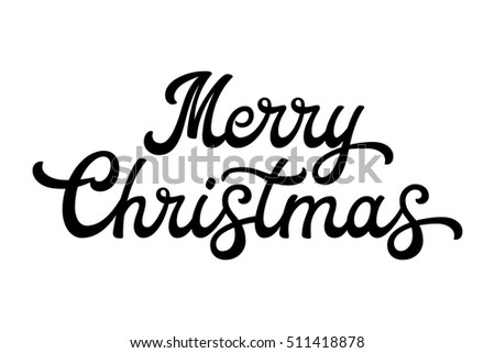 merry christmas brush lettering black letters isolated on white background christmas decoration for greeting cards design font illustration ez canvas - Merry Christmas Black And White