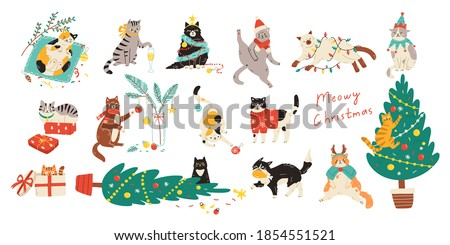 Merry Christmas! Bundle of cats celebrating winter holiday. Vector illustration of cute pets wearing costumes, climbing Christmas tree and being naughty in flat cartoon style. Elements are isolated. Foto stock ©