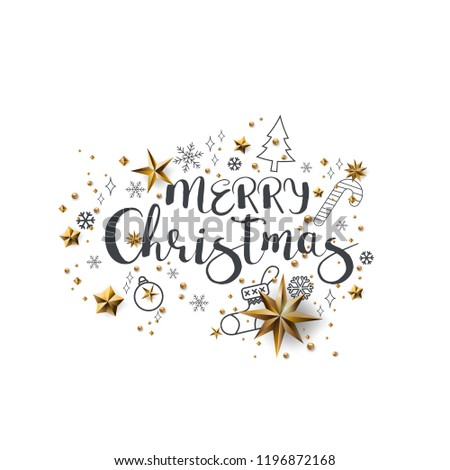 Merry Christmas Calligraphic Design and Decorated with Golden Stars and Beads and pyramid on white