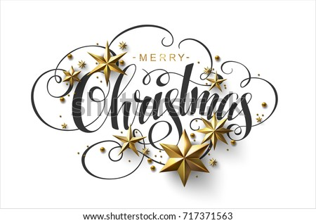 Merry Christmas Calligraphic Inscription Decorated with Golden Stars and Beads. #717371563