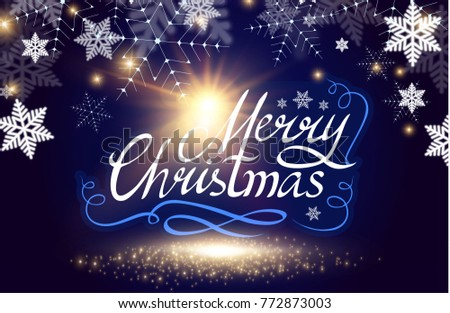 Merry Christmas Calligraphic Lettering with Elegant Gold Effects, Vintage Shining Design. Vector illustraion