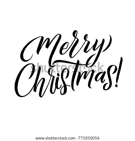 merry christmas calligraphy card greeting design on white background