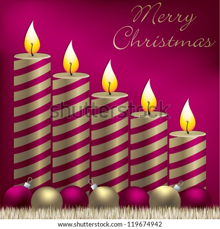 Merry Christmas candle, bauble and tinsel card in vector format.
