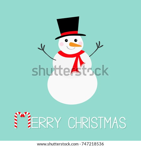 Stock Photo Merry Christmas. Candy cane. Snowman, carrot nose, hat, red scarf and snowflakes. Cute cartoon funny kawaii character. Blue winter background. Greeting card. Flat design. Vector illustration