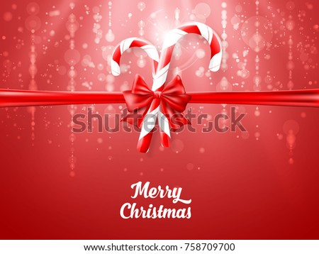 Merry Christmas candy with red realistic ribbon on red background. EPS Vector illustration.