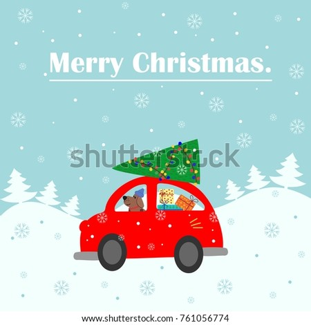 merry christmas card a red car
