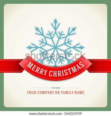 Merry Christmas card and snowflake decoration background Vector illustration Eps 10