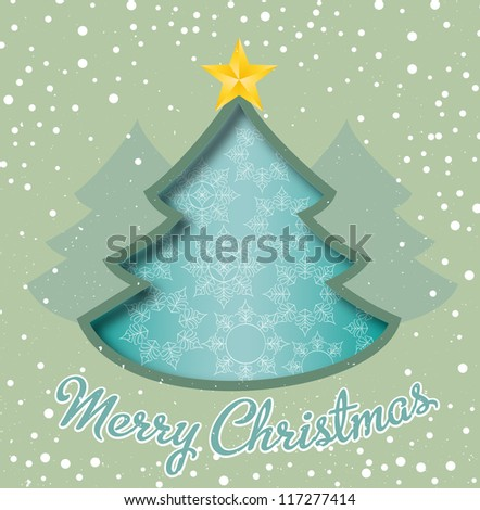 Merry Christmas card, christmas tree and snowflakes